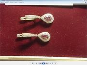 Золотые итальянские серьги с бриллиантами